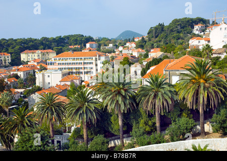 The city of Dubrovnik from the ramparts of the old city. - Stock Photo
