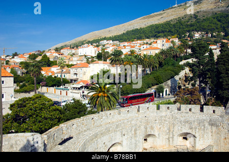 The city of Dubrovnik as viewed from the old city ramparts. - Stock Photo