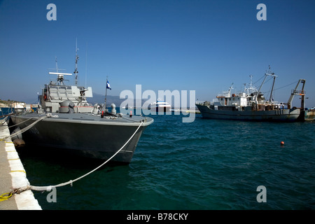Hellenic Navy Tjeld class patrol boat Kyknos P 198 Kyknos swan in harbour Pythagorion Samos Greece - Stock Photo