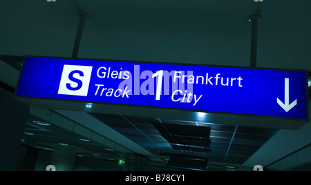 Guidepost in the basement of the Frankfurt Airport, Frankfurt am Main, Hesse, Germany, Europe - Stock Photo