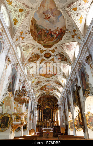 Interior view of St. Martin's parish church in Fischbachau, Upper Bavaria, Bavaria, Germany, Europe - Stock Photo
