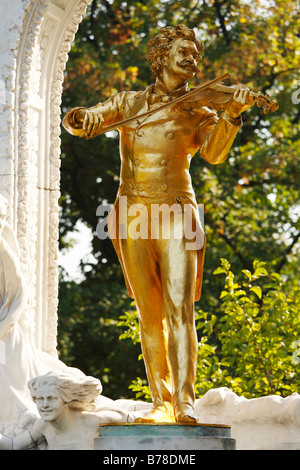 Johann-Strauss-Monument in the town park, Vienna, Austria, Europe - Stock Photo