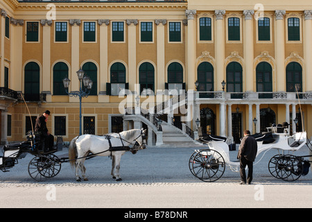 Horse carriage in front of Schoenbrunn Palace, Vienna, Austria, Europe - Stock Photo