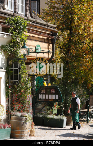 Tavern selling new wine, sign 'Sturm Most' in Grinzing, Vienna, Austria, Europe - Stock Photo