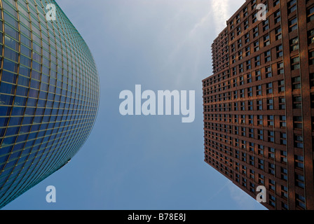 High-rise buildings, BahnTower and Kollhoff-Tower from a worm's-eye view, Potsdamer Platz, Berlin, Germany, Europe - Stock Photo