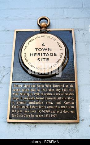 Town Heritage Site Plaque Chapel Hill North Carolina - Stock Photo