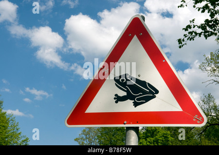 Germany, Sign, Toad migration, close-up - Stock Photo