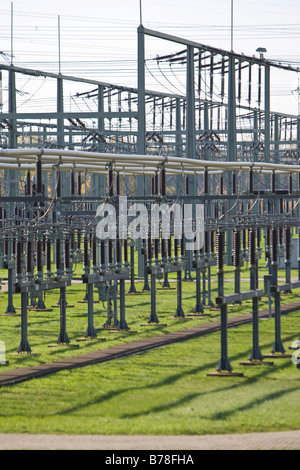 Transformer station, electric utility at steam plant of company Eon, Grosskrotzenburg, Hesse, Germany, Europe - Stock Photo
