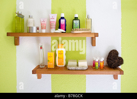 Shelf in a bathroom, body care products - Stock Photo