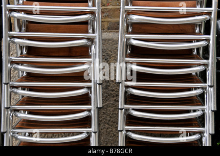 Stacked chairs closeup - Stock Photo