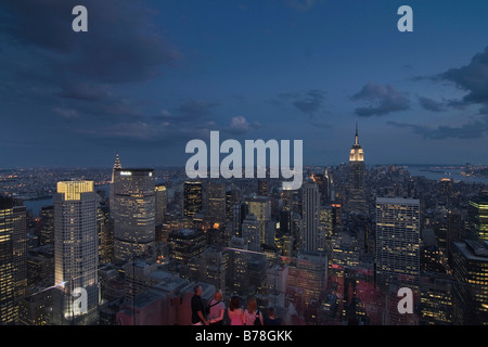View over Manhattan with the Empire State Building from the Rockefeller Centre, New York, USA - Stock Photo