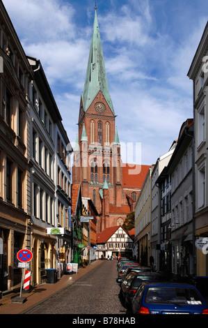 View of the Schweriner Dom or Schwerin Cathedral, Schwerin, Mecklenburg-Western Pomerania, Germany, Europe - Stock Photo