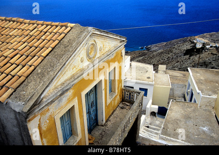 House with sea view in the mountain village Olympos, Karpathos, the Aegean, Dodecanese, Greece, Europe - Stock Photo