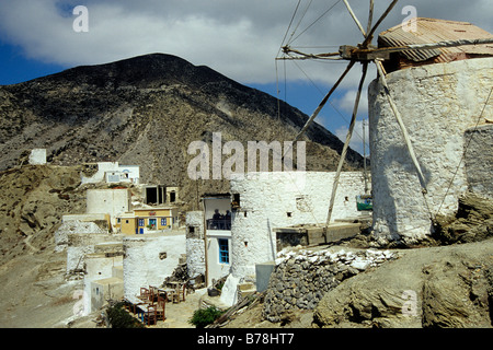 Houses and windmills in the mountain village Olympos, Karpathos, the Aegean, Dodecanese, Greece, Europe - Stock Photo