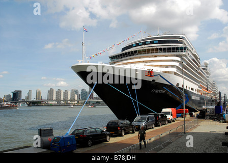 The new cruise liner MS Eurodam from Holland-Amerika-Lijn, HAL, at Wilhelminapier cruise terminal, Rotterdam, South - Stock Photo