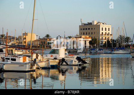 Boats in the port, Port de Portixol, evening mood on the coast of the Mediterranean Sea, Majorca, Balearic Islands, - Stock Photo