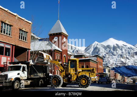 Snowplow in the Mainstreet in Telluride, Colorado, USA - Stock Photo