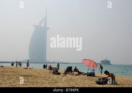 Jumeirah Beach, Burj al Arab, Dubai, United Arab Emirates, Middle East - Stock Photo