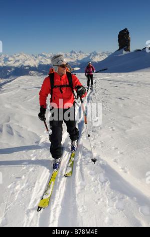 Ski tour, ski mountain climbers, Tour Saint Martin, Les Diableretes, skiing area Glacier 3000, Gstaad, West Alps, - Stock Photo