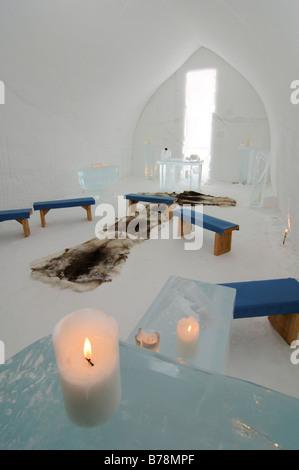 Igloo church, Icehotel Kakslauttanen, Ivalo, Lapland, Finland, Europe - Stock Photo