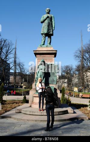 J.L. Runeberg statue on the Esplanade, Helsinki, Finland, Europe - Stock Photo
