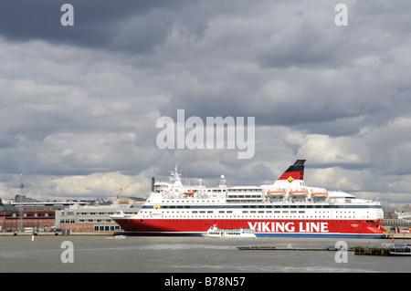 Ferry-boat of the Viking Line docked in Helsinki port, Helsinki, Finland, Europe - Stock Photo