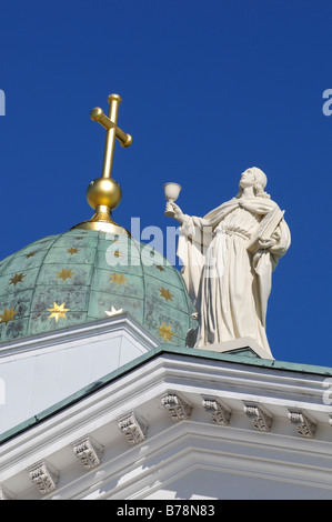 Tuomiokirkko, Helsinki Cathedral, partial view with sculpture, Helsinki, Finland, Europe - Stock Photo