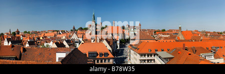 Panorama view over the roofs of the old city of Nuremberg, Middle Franconia, Bavaria, Germany, Europe - Stock Photo