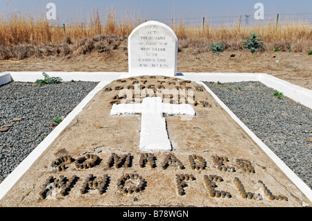 Inscription made of cartridge shells on a grave to the unknown soldiers of the Boer War, Kwazulu-Natal, South Africa, Africa