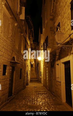 Night shot, narrow lane, old town, Trogir, Croatia, Europe - Stock Photo