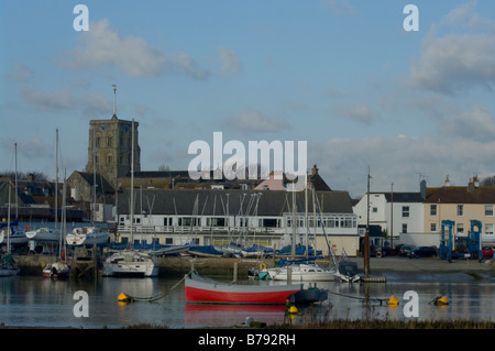 A view of the Norman church of St Mary de Haura across the River Adur Shoreham West Sussex - Stock Photo