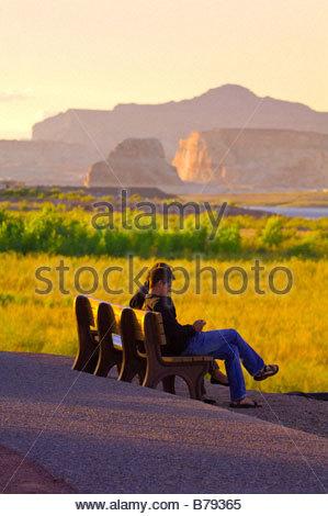 Tourists enjoying the view from the Lake Powell Resort Lake Powell Glen Canyon National Recreation Area Arizona - Stock Photo