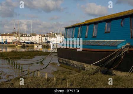 A view across the mud flats of the River Adur Shoreham West Sussex - Stock Photo