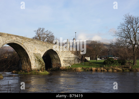 old Stirling bridge across River Forth and William Wallace Monument Stirling Scotland  January 2009 - Stock Photo