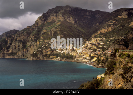 Monti Lattari over Positano seen from Capo Sottile at Amalfi Coast Campania region Italy - Stock Photo