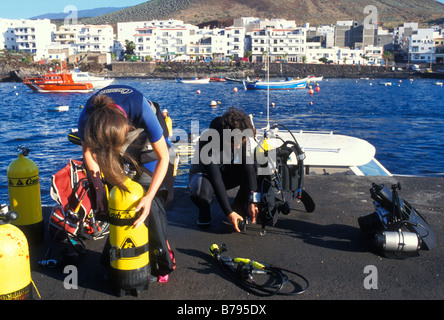 Skin Diver, Harbour, La Restinga, El Hierro Island, Canary Islands, Spain, Europe - Stock Photo