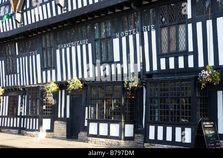 16th century Shakespeare Hotel, Stratford upon Avon, Warwickshire, England UK - Stock Photo