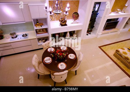 Elevated view of modern dinning table in contemporary house Indoors Horizontal - Stock Photo