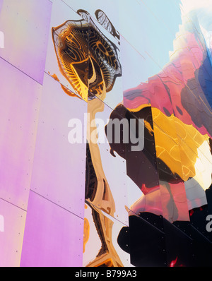 WASHINGTON - The Space Needle reflecting on the aluminum siding of the Experience Music Project,  (EMP), at the - Stock Photo