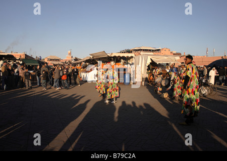 Street artists in Lemaa el fna square, Marrakech, Morocco - Stock Photo