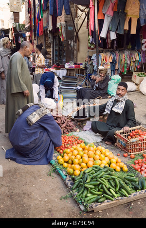 Luxor, Egypt, North Africa. Fruit and vegetables for sale in the bazaar - Stock Photo