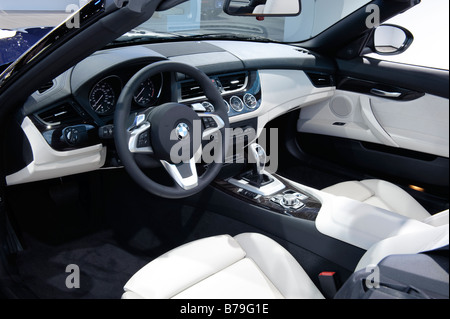 Interior of a 2009 BMW Z4 at the 2009 North American International Auto Show in Detroit Michigan USA - Stock Photo