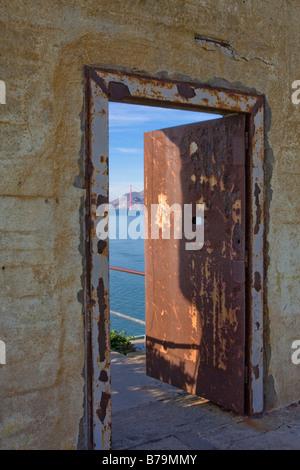 Door in exercise yard wall Alcatraz prison San Francisco USA - Stock Photo