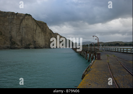 Tolaga Bay - the longest (660m) pier in New Zealand - Stock Photo