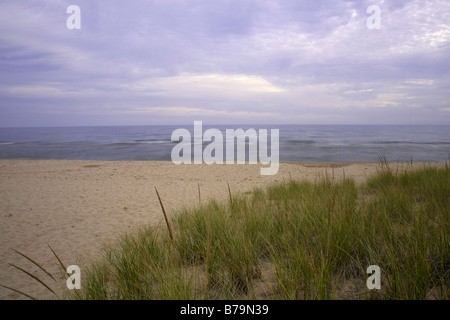 WISCONSIN - Sandy beach on the shores of Lake Michigan at Whitefish Dunes State Park in Door County. - Stock Photo
