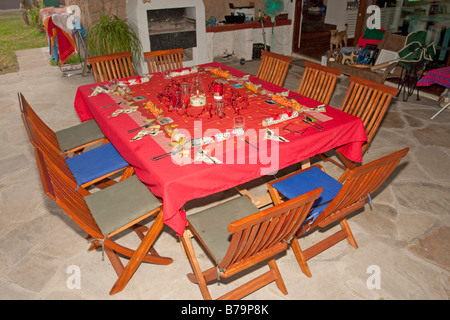 Table Set For Christmas Dinner table laid for christmas dinner with crackers, christmas tree and