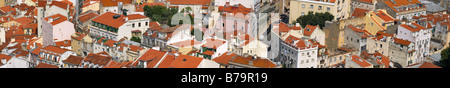 Bird view of central Lisbon with colorful houses and orange roofs - Stock Photo