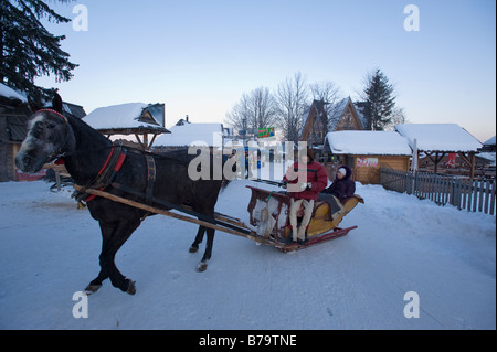 Horse drawn open sleigh on Gubalowka Hill Zakopane Tatra Mountains Podhale Region Poland - Stock Photo