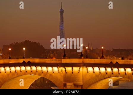 Seine bridge, illuminated and the Eiffel Tower by night, Paris, France, Europe - Stock Photo