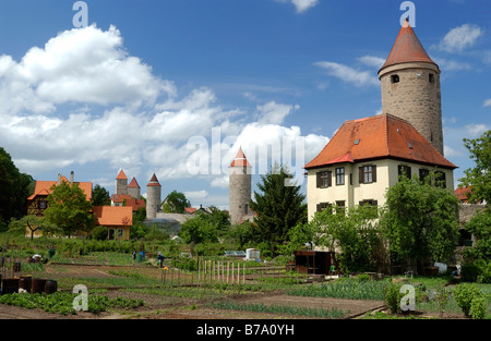 Vegetable gardens and defense towers along town wall, Dinkelsbuehl, Middle Franconia, Bavaria, Germany, Europe - Stock Photo